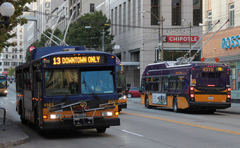 Public mass transit jobs are among the fastest growing in Washington, according to a new report on clean economy job growth. Credit: SounderBruce/King Co. Metro Transit on Flickr