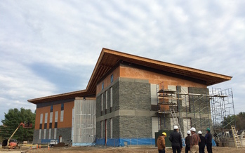 This 17,000-square-foot Living Building is one of two under construction at Hampshire College in Amherst, helping the campus become energy self-sufficient. Courtesy: Hampshire College.