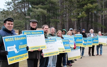 They have been working without a contract since June. Members of Massachusetts Community College Council demonstrated at Mount Wachusett Community College in Gardner this week in advance of the next round of negotiations on Friday. (S. McLennan)