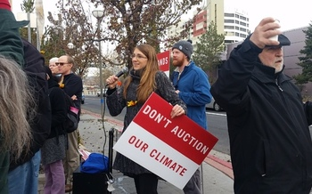 Protestors spoke out in Reno Tuesday against the sale of oil and gas leases on federal land. Credit: Center for Biological Diversity