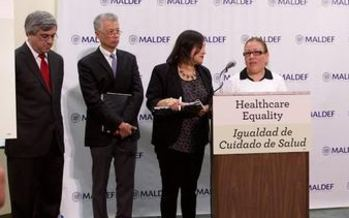 Latino advocates announce a civil rights complaint over health care at a press conference in Los Angeles on Tuesday. (SEIU-United Healthcare Workers West)