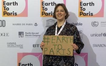 Cathy Becker of Grove City joined the Sierra Club at the UN Climate Conference. (Earth to Paris)
