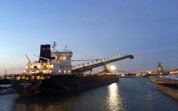 A petcoke ship docked on Chicago's southeast side. (Natural Resources Defense Council)
