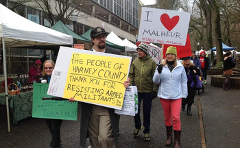 Even some Portland city-dwellers took the time to make their views known about the armed occupation of the Malheur National Wildlife Refuge in Burns. (Rural Organizing Project)