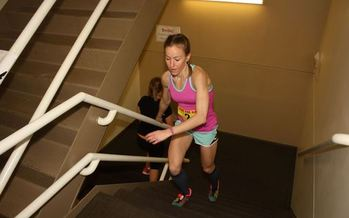 Michelle Spehr makes her way up all 1,034 steps in last year's American Lung Association Fight For Air Climb, to raise money for research. This year's event is March 19. (ALA Wisconsin)