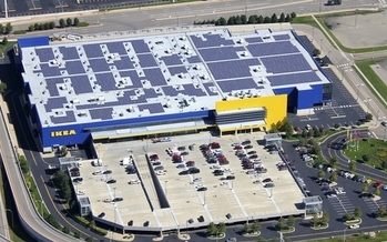 Many Ikea stores have solar installation on their rooftops, which help provide a large portion of the energy consumed by their large stores. (Ikea)