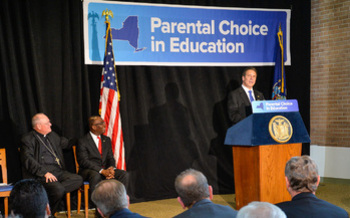 Gov. Andrew Cuomo introduced the bill last year in Buffalo. It would allow people to claim tax credits for donations to private and religious schools. (GovernorAndrewCuomo/Flickr)