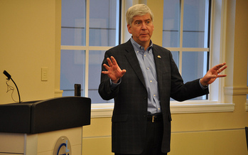 Critics say Gov. Rick Snyder's 2017 budget proposal doesn't create a stable revenue stream for the future. (Michigan Municipal League/Flickr)