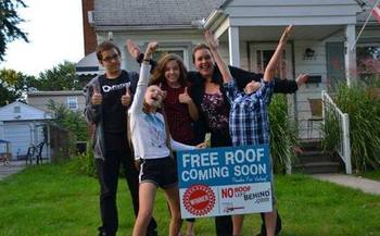 No Roof Left Behind is a group of roofing contractors who collaborate to make some deserving homeowners dry, warm and very happy. (No Roof Left Behind)