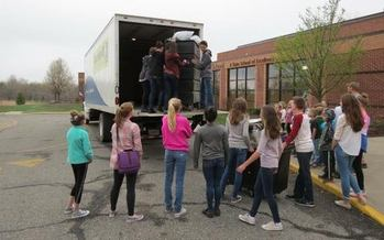 Students from two Michigan schools collected nearly 16,000 pounds of fabric to be recycled. (Goodwill Industries of Mid-Michigan)