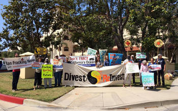 Protesters rallied Tuesday to keep a moratorium on fracking in federal waters off of California. (Center for Biological Diversity)