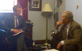 On Wednesday, AARP Washington volunteer state president Mike Tucker, right, visited U.S. Rep. Derek Kilmer, D-WA, co-sponsor of the RAISE Family Caregivers Act. (AARP Washington)