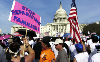 Latinos protest U.S. immigration policies in front of the Capitol building in Washington, D.C. (iStockphoto)