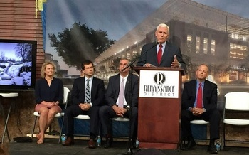 Gov. Pence will soon have bigger fish to fry than the Regional Cities Initiative Project, which he helped kick off back in May. (Office of Gov. Pence/Flickr)