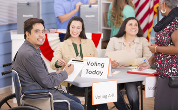 Advocates for voters with disabilities are urging Illinois election officials to keep accessibility in mind when setting up polling places. (iStockphoto)