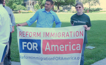 Immigrants' rights supporters at the Republican National Convention plan to build a blocks long wall around Quicken Loans Arena today. (Progress Ohio/Flickr)