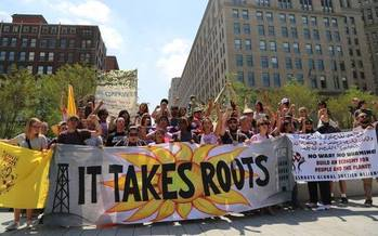A pledge of resistance is traveling from the RNC to the DNC. (Grassroots Global Justice)