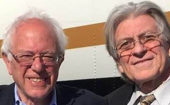 Arizona Democratic Delegate Dan O�Neal (right) poses with his chosen presidential candidate, Bernie Sanders, at a rally earlier this year. (Dan O�Neal)