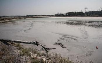 A coal ash sludge pond at the Colstrip coal-fired power plant. (Alexis Bonogofsky)