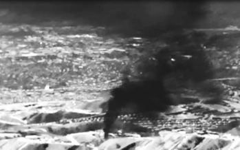 An infrared image showing the gas leak in Aliso Canyon, last fall. (Environmental Defense Fund)