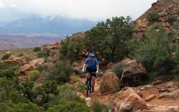 A mountain biker maneuvers on a wilderness trail near Moab, Utah. (Shaine M. Smith)