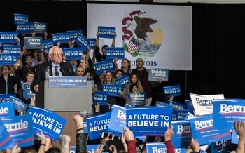 Vermont Sen. Bernie Sanders spoke to a crowd of Illinois supporters during a campaign stop in March. (iStockphoto)