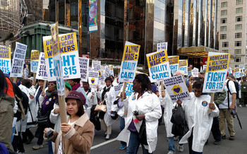 The Fight for $15 began in New York City and spread nationwide. (The All-Nite Images/Flickr)