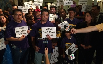 The janitors who clean the T and their supporters rally today against job cuts they say could leave the MBTA a mess. (SEIU)
