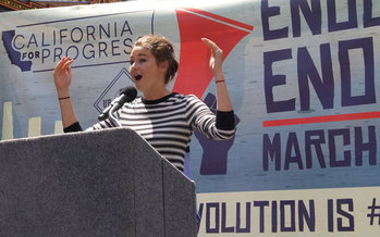 Actress Shailene Woodley spoke out against the Dakota Access Pipeline at a rally this weekend in Los Angeles. (Barry E. Levine)