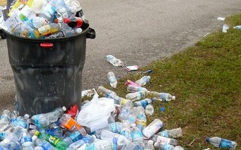 Recycling stands can help prevent debris left behind after an event. (Bob B. Brown/Flickr)