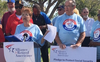 Sen. Marco Rubio's track record on Social Security has some Florida seniors and workers concerned enough to protest at his offices in the state. (Florida Alliance for Retired Americans)