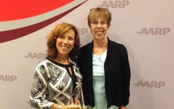Judy Crane (Left) is being honored by AARP Maryland for helping other stroke survivors. She was nominated by her longtime friend and neighbor, Nancy Seiss.