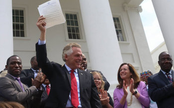 Gov. Terry McAuliffe's efforts to restore voting rights to restored felons is part of the electoral landscape in Virginia this year. (Office of Gov. McAuliffe/Flickr)