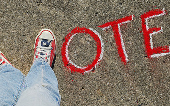 Experts recommend not only talking to kids about the importance of voting, but also encourage them to consider running for office one day. (Theresa Thompson/Flickr)