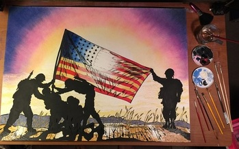 A series of paintings and murals are being placed around the country to celebrate Americans who have sacrificed for others. (Mark Paul John)