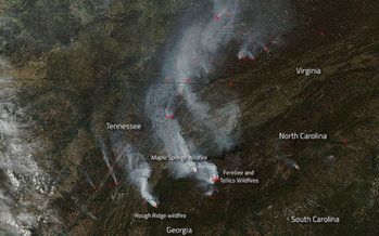 Satellite images of the wildfires from space. (Nasa.gov)