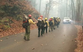 Firefighters from around the region traveled to Gatlinburg and Sevierville to fight the fires. (National Park Service)