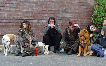California accounts for 20 percent of the total U.S. homeless population; a homeless group on Haight Street, San Francisco. (Franco Folini)  <br />