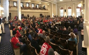 The hearing room was packed as the Senate Commerce Committee heard testimony on the so-called Right to Work Bill. (New Hampshire AFL-CIO)