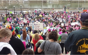 An estimated 3,000 people were at the State Capitol in Charleston on Saturday to voice their support for women's reproductive rights and issues of equality and social justice. (Dan Heyman)