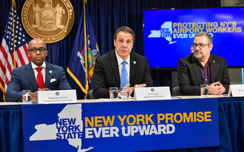 Alphonso David, Governor Cuomo, and Hector Figueroa speaking at a Sunday news conference.  (Governor Andrew Cuomo)