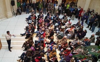 Hundreds rallied at the Roundhouse last year to support keeping public lands in federal hands. This year's rally takes place Wednesday. (New Mexico Wildlife Federation)