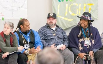 New England tribal and peace activists raised money in Concord this week to help fight the Dakota Access Pipeline and prevent water contamination. (E. Zulaski)