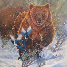 Painter Georgia Baker wants to represent the grizzly bear's more playful side. (2017©Georgia Baker ArtWorks)