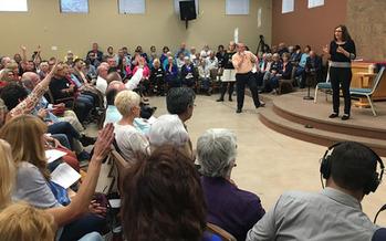 Congresswoman Martha McSally speaking at a town hall in Sahuarita, Arizona on February 23. (Dennis Newman/PNS)