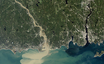 Atlantic sturgeon travel 140 miles up the Connecticut River to spawn. (NASA Earth Observatory)