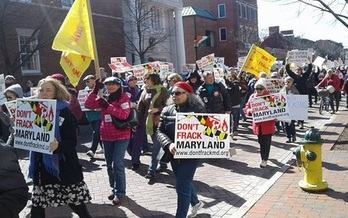 Thousands rallied in Annapolis last week as Maryland lawmakers began debating a fracking ban. (Citizen Shale)