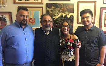 The Rayos children meet with Rep. Grijalva before President Trump's first address to a joint session of Congress. Left to right: Ernesto Lopes of Puente Movement, Rep. Grijalva, Jaqueline Rayos-Garcia, Angel Rayos-Garcia. Courtesy: office of Rep. Grijalva.