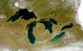 The Great Lakes contain 21 percent of the world�s fresh surface water. (ORBIMAGE/Wikimedia Commons)