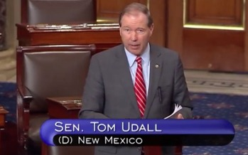 Sen. Tom Udall, D-New Mexico, shared his concerns with fellow senators about President Trump's adversarial relationship with the news media. (YouTube)